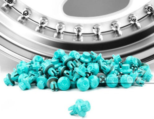Mint Green Plastic Rim Lip Replacement Wheel Rivets / Nuts