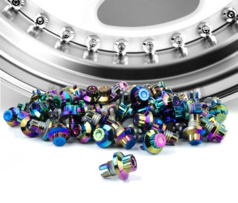 Neo Chrome Plastic Rim Lip Replacement Wheel Rivets / Nuts
