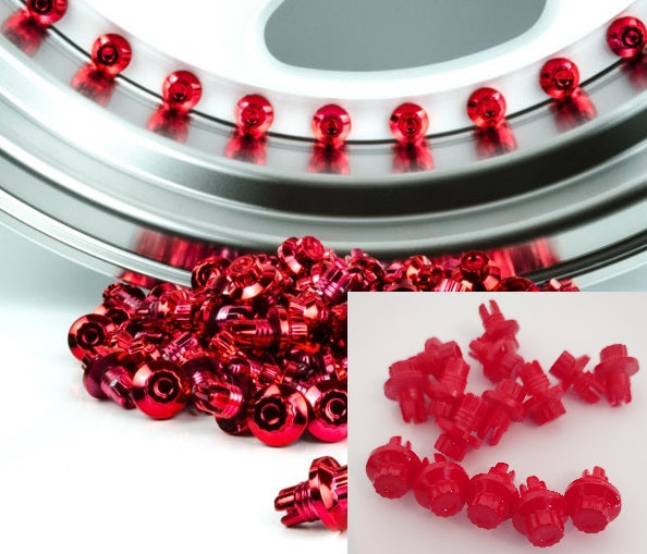 Red Plastic Rim Lip Replacement Wheel Rivets / Nuts