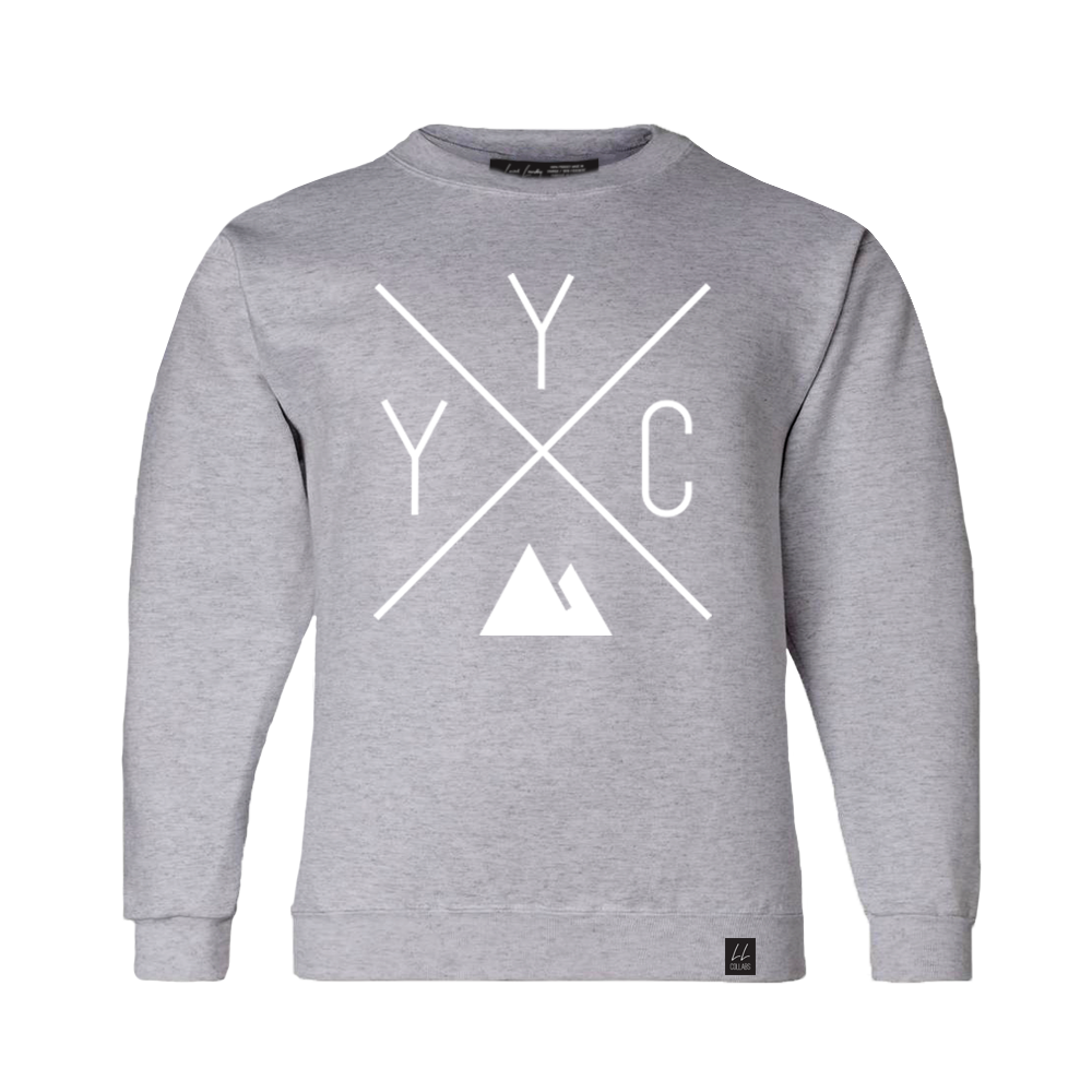 Made in Canada - Youth YYC Crewneck Sweatshirt - X Design - Unisex - Sports Grey - Local Laundry
