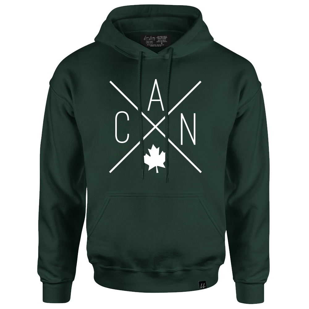 Made in Canada - CAN Hoodie Sweatshirt - X Design - Unisex - Forest Green