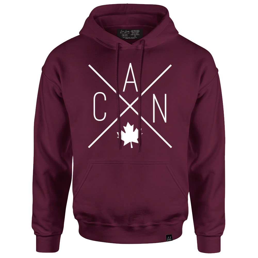 Made in Canada - CAN Hoodie Sweatshirt - X Design - Unisex - Maroon