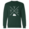 Made in Canada - YYC Crewneck Sweatshirt - X Design - Unisex - Forest Green - Local Laundry