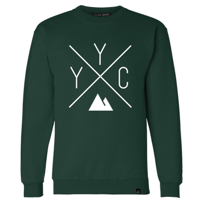Made in Canada - YYC Crewneck Sweatshirt - X Design - Unisex - Forest Green
