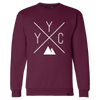 Made in Canada - YYC Crewneck Sweatshirt - X Design - Unisex - Maroon
