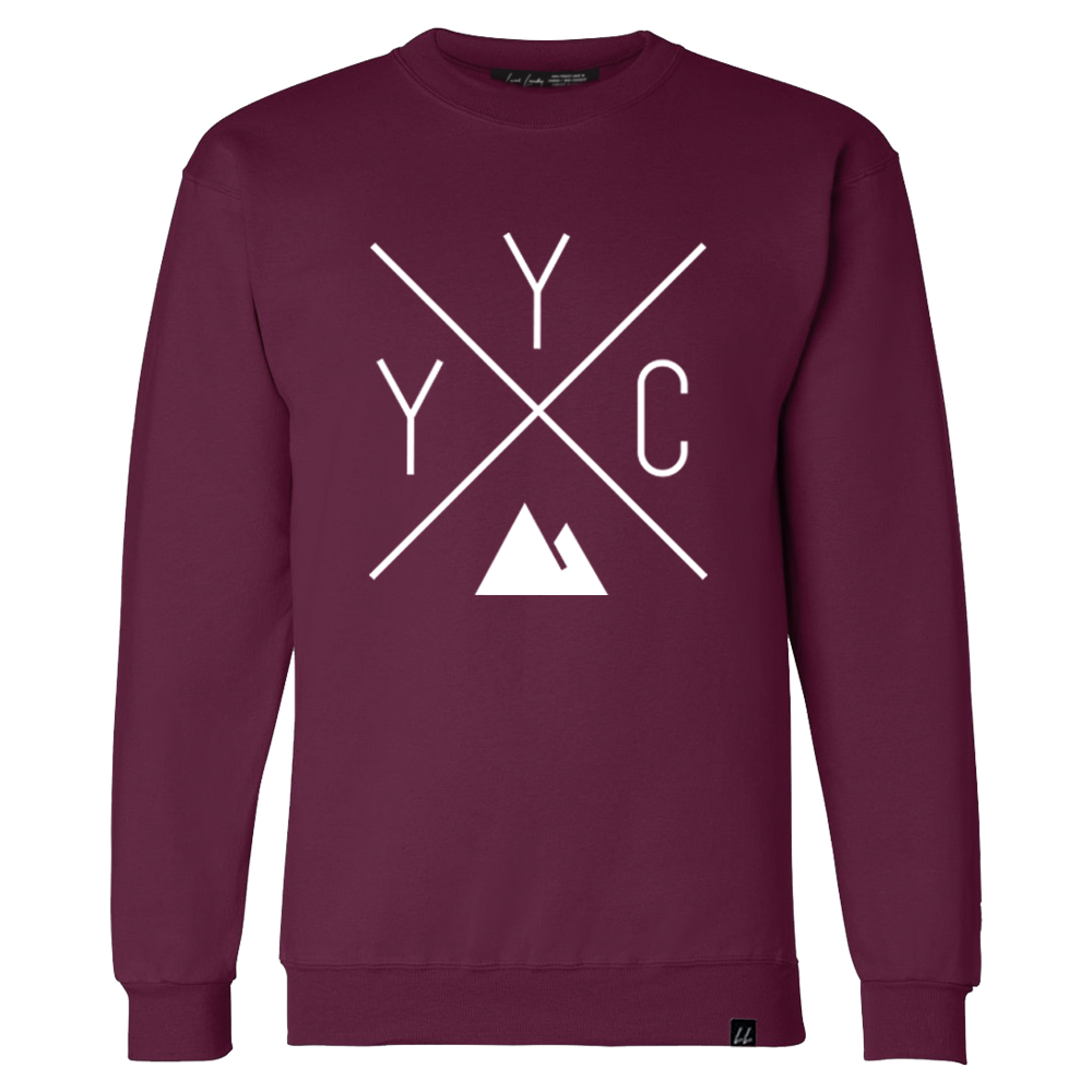 Made in Canada - YYC Crewneck Sweatshirt - X Design - Unisex - Maroon - Local Laundry
