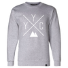 Made in Canada - YYC Crewneck Sweatshirt - X Design - Unisex - Sports Grey