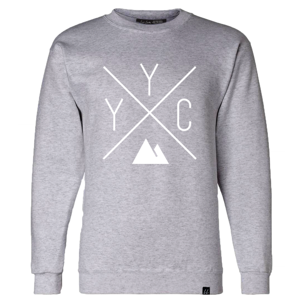 Made in Canada - YYC Crewneck Sweatshirt - X Design - Unisex - Sports Grey - Local Laundry