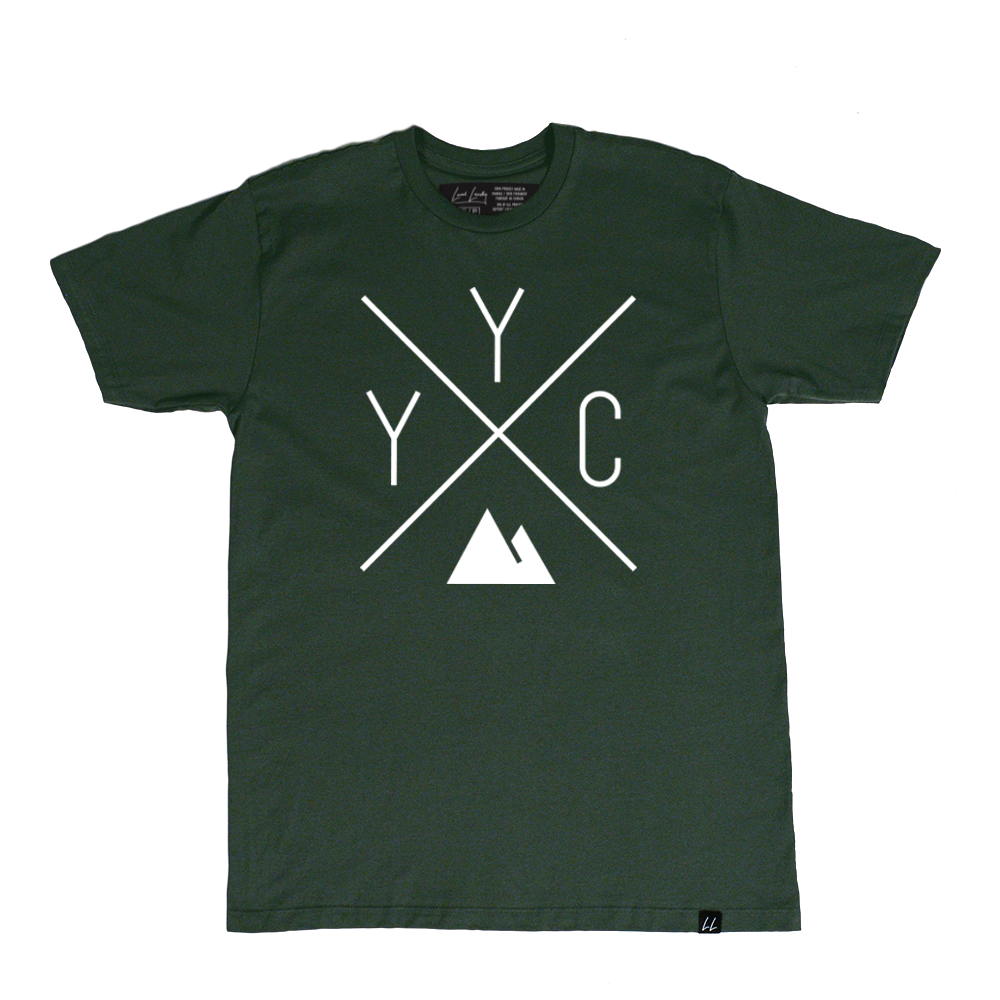 Made in Canada - YYC T-Shirt - X Design - Unisex - Forest Green