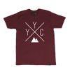 Made in Canada - YYC T-Shirt - X Design - Unisex - Maroon
