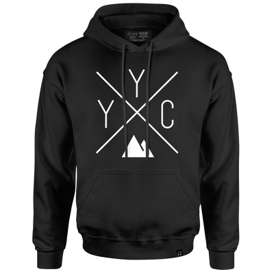 Made in Canada - YYC Hoodie Sweatshirt - X Design - Unisex - Black
