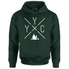 Made in Canada - YYC Hoodie Sweatshirt - X Design - Unisex - Forest Green - Local Laundry