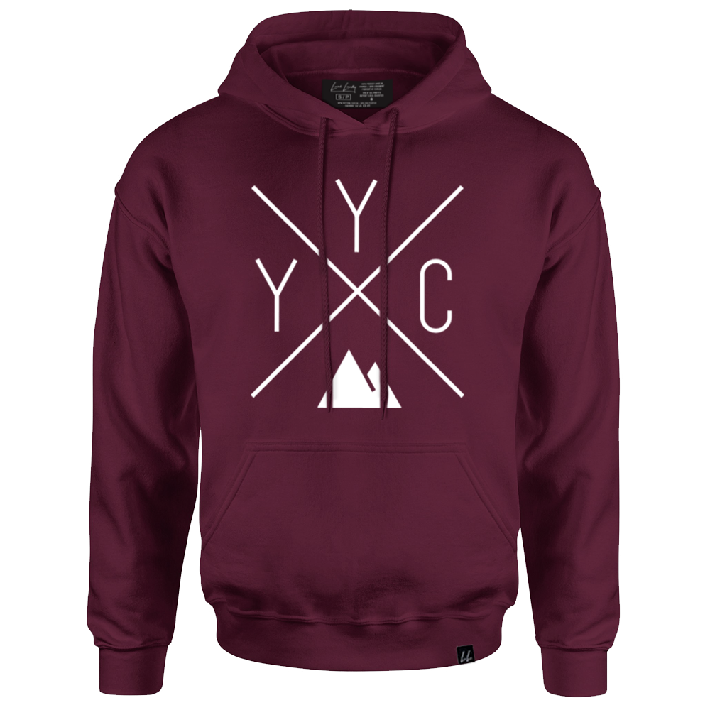 Made in Canada - YYC Hoodie Sweatshirt - X Design - Unisex - Maroon