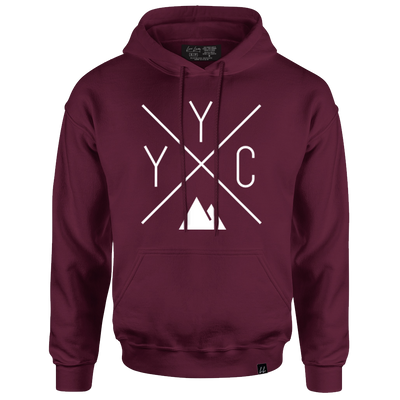 Made in Canada - YYC Hoodie Sweatshirt - X Design - Unisex - Maroon - Local Laundry