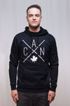 Made in Canada - CAN Hoodie Sweatshirt - X Design - Unisex - Black