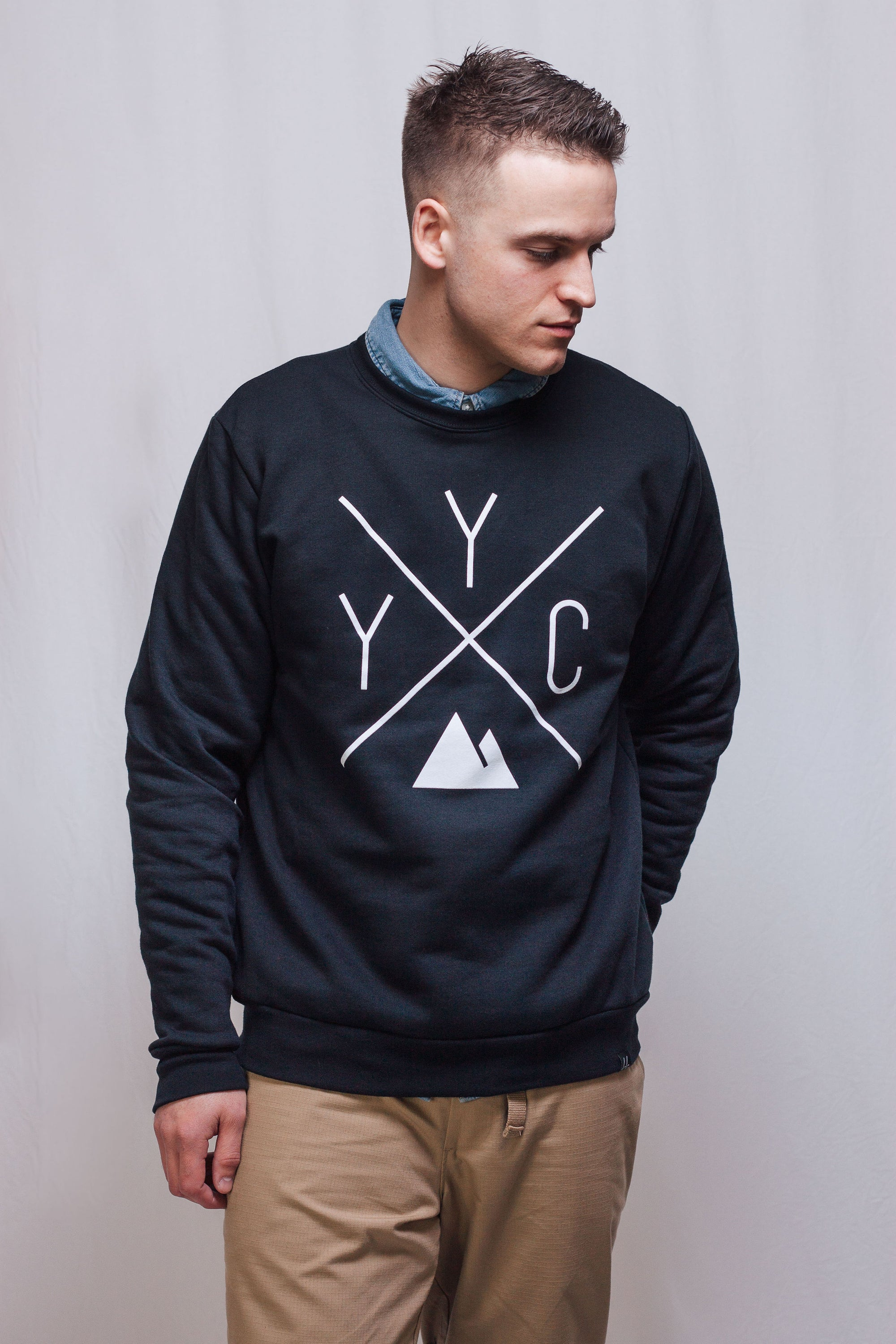 Made in Canada - YYC Crewneck Sweatshirt - X Design - Unisex - Black - Local Laundry