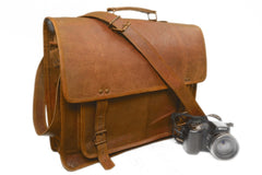 "Vintage 14"" Natural leather shoulder bag leather laptop bag For Man Woman And Student"