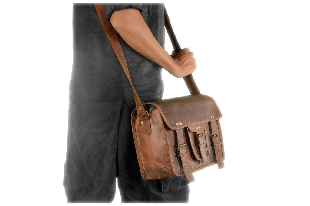 "vintage 14"" Inch Goat leather Office Bag College Laptop Macbook Messenger Bag For Man Woman And Student"
