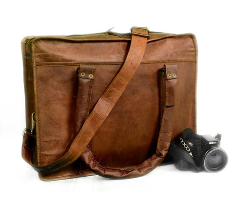 "Vintage 18"" Inch Bull Leather- Briefcase Laptop Case Messenger Shoulder Bag For Man Woman And Student"