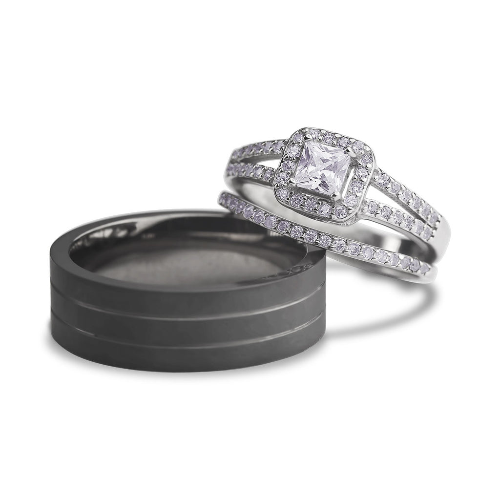 Valea sterling silver and titanium trio set - Azarai Wedding Rings |  Abuja | Lagos | Nigeria