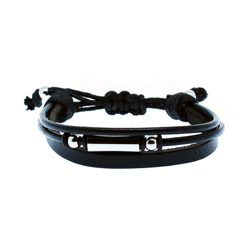 Mohican three-strand leather men's bracelet - Azarai |  Abuja | Lagos | Nigeria