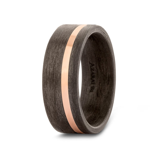 Kymera carbon fibre and solid gold wedding band - Azarai |  Abuja | Lagos | Nigeria