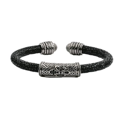 Navajo stingray and stainless steel men's cuff