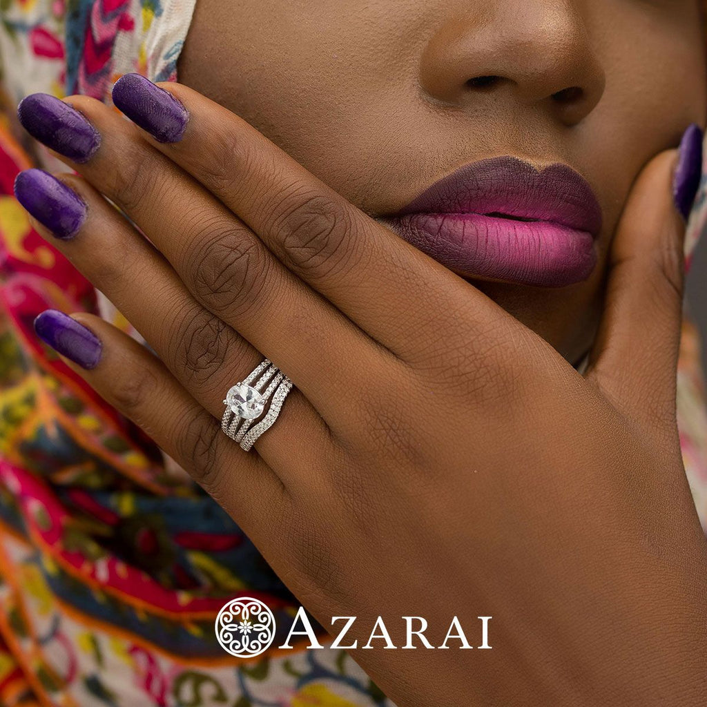 Ileane sterling silver bridal set - Azarai Wedding Rings |  Abuja | Lagos | Nigeria