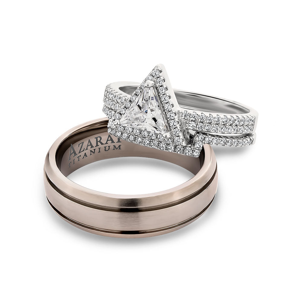 Trillium sterling silver and titanium trio set bundle - Azarai Wedding Rings |  Abuja | Lagos | Nigeria
