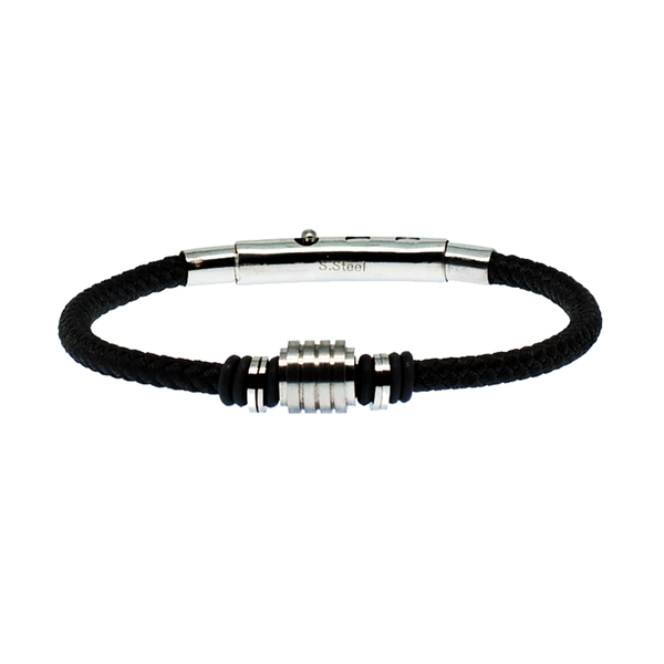 Gibson cord and stainless steel men's bracelet - Azarai Jewelry |  Abuja | Lagos | Nigeria