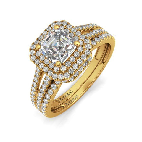 Beatrix 9kt gold bridal set- Azarai Wedding Rings Lagos | Abuja Nigeria