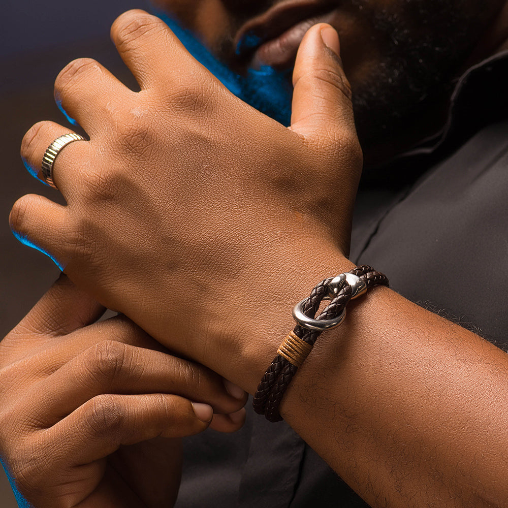 Beck leather and stainless steel men's bracelet - Azarai |  Abuja | Lagos | Nigeria
