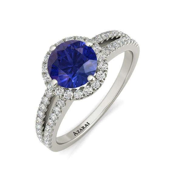 Bella blue sterling silver engagement ring