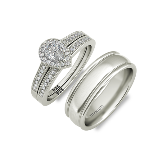 Caroline sterling silver bridal set and Degas wedding band - Azarai Jewelry |  Abuja | Lagos | Nigeria