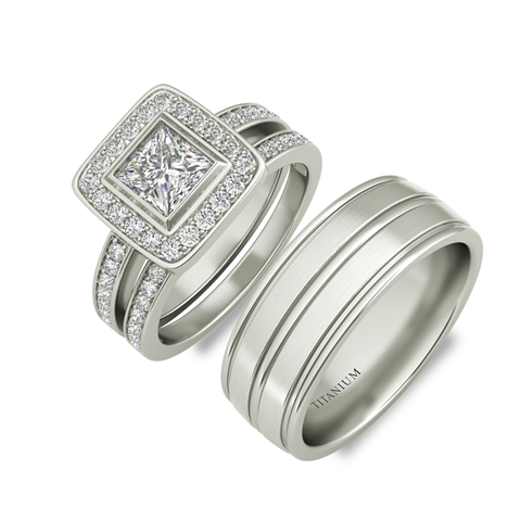 Ines sterling silver engagement set and Halifax wedding band - Azarai Rings |  Abuja | Lagos | Nigeria