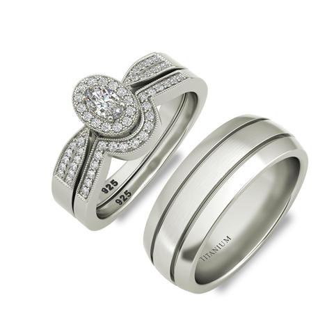 Melanie sterling silver bridal set and Vulcan wedding band - Azarai Jewelry |  Abuja | Lagos | Nigeria