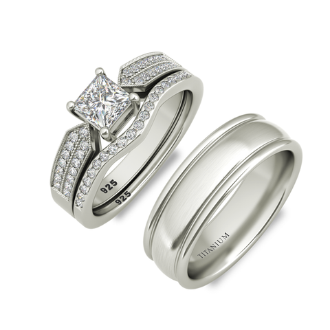 Molly sterling silver engagement set and Degas wedding band - Azarai Jewelry |  Abuja | Lagos | Nigeria