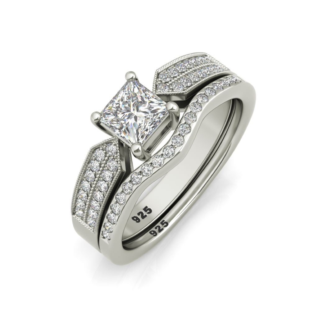 Molly sterling silver engagement set and Degas wedding band - Azarai |  Abuja | Lagos | Nigeria