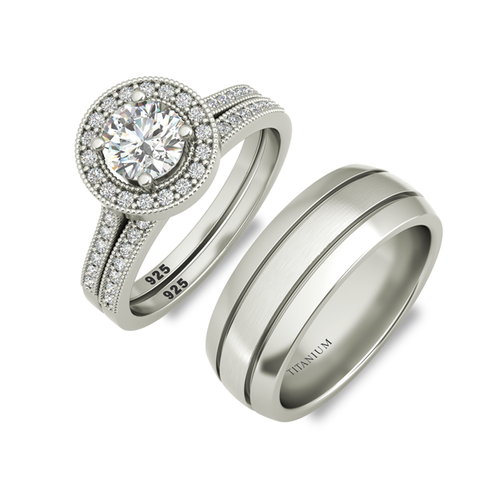 Samantha sterling silver engagement set and Vulcan wedding band