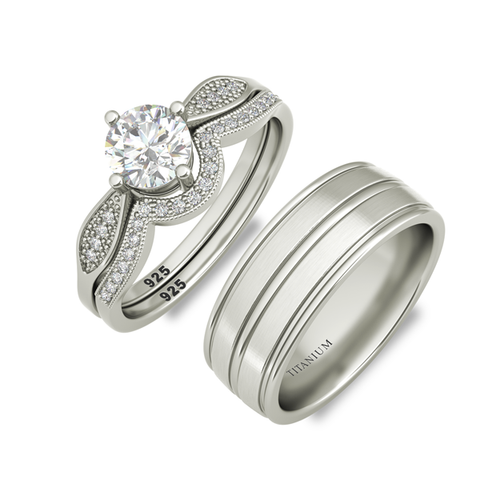 Zandra sterling silver engagement set and Halifax wedding band - Azarai Rings |  Abuja | Lagos | Nigeria