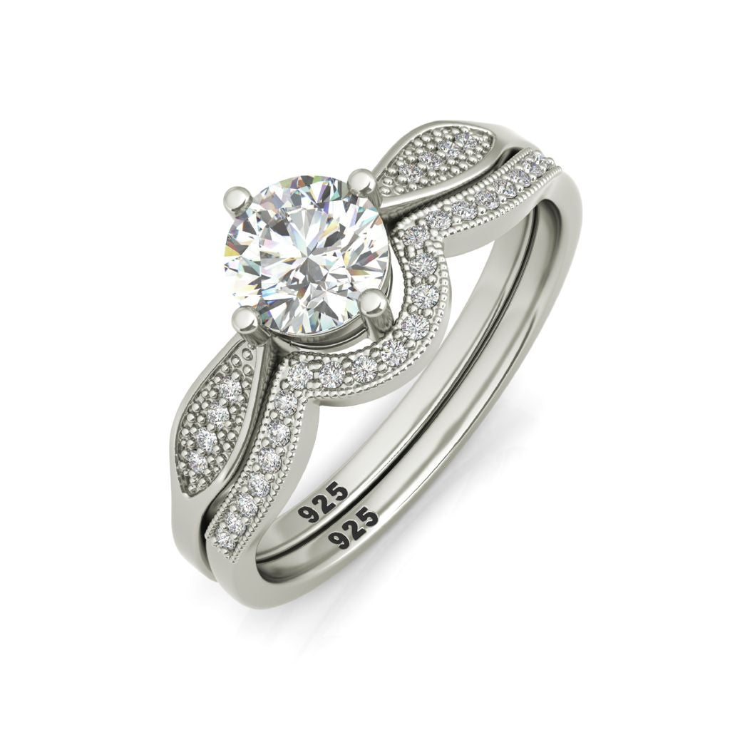 Zandra sterling silver engagement set and Halifax wedding band - Azarai |  Abuja | Lagos | Nigeria