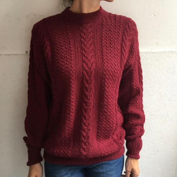 Alpaca sweater dark rouge