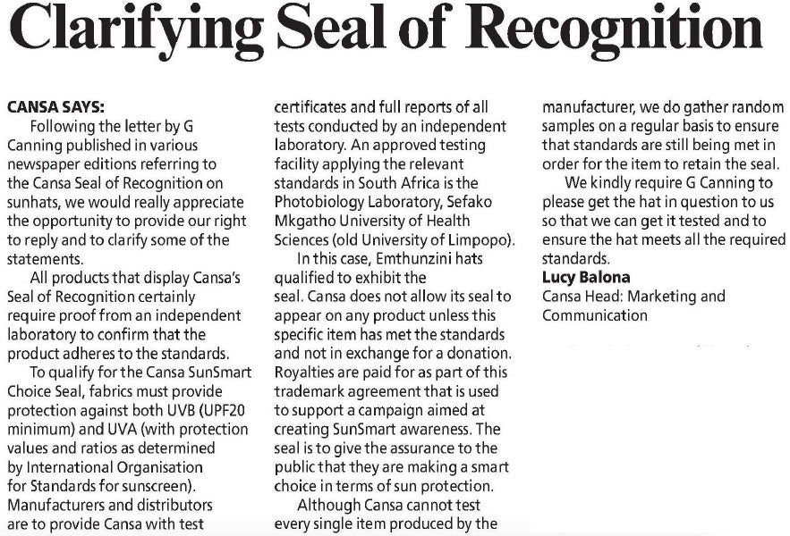 CANSA Clarification of Seal of Recognition