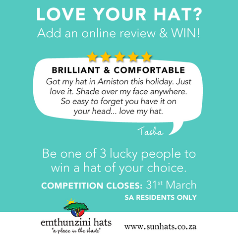 Love your hat? Write a review and win with Emthunzini Hats.