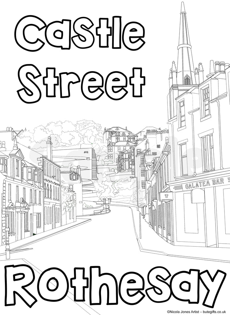 Castle St Rothesay Colour In Sheet (FREE DIGITAL DOWN LOAD)