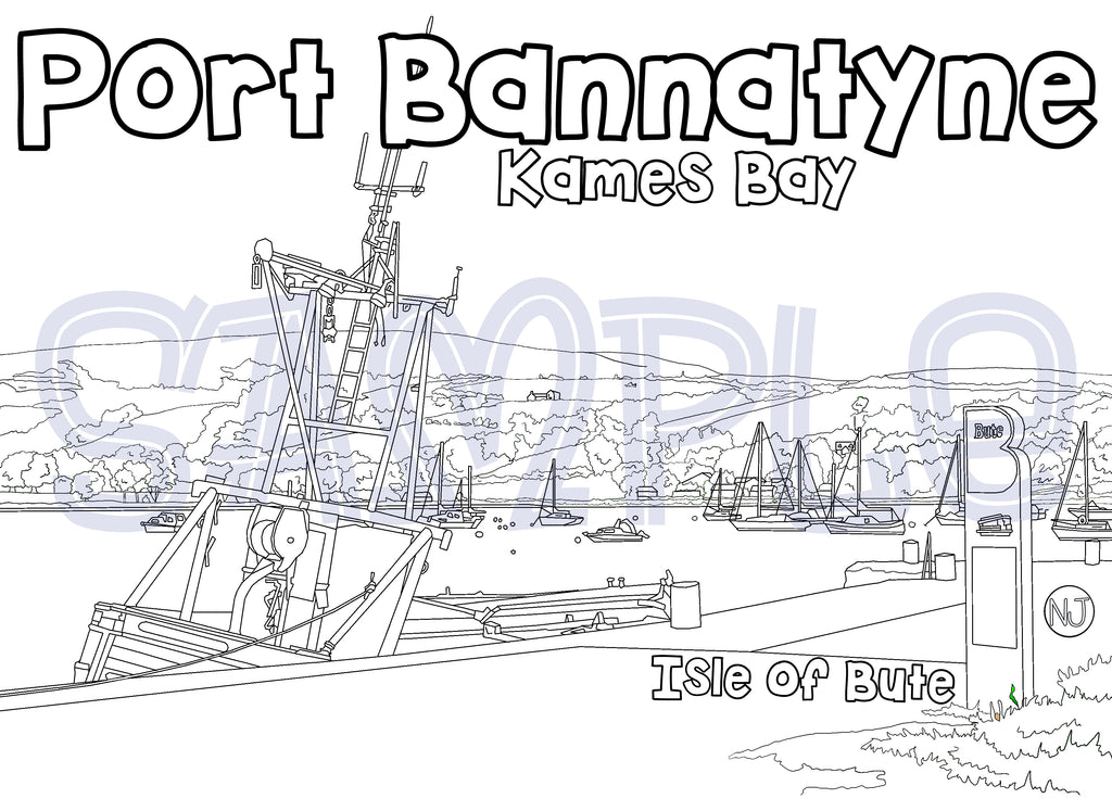 Kames Bay Port Bannatyne Colour In Sheet (FREE DIGITAL DOWN LOAD)