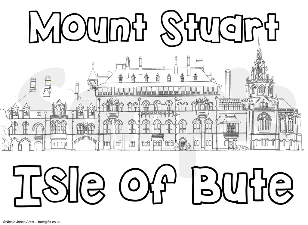 Mount Stuart Colour In Sheet (FREE DIGITAL DOWN LOAD)