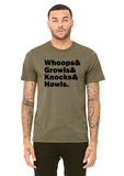 """Whoops & Growls & Knocks & Howls"" Short-Sleeved T-Shirt"