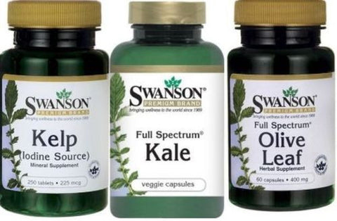 KELP / KALE / OLIVE LEAF / 3 Bottle COMBO! EXP. 2018 SUPERFOODS Antioxidants