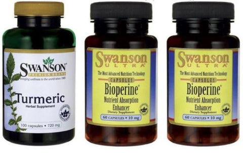#1 SWANSON Turmeric +AND+ BioPerine® | Piperine Black Pepper | 100 +120 Capsules